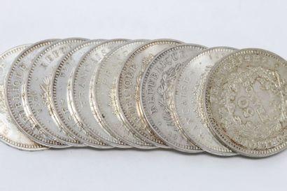Ensemble de dix pièces de 50 francs Hercule...