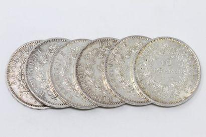 Ensemble de six pièces de 10 francs Hercule...