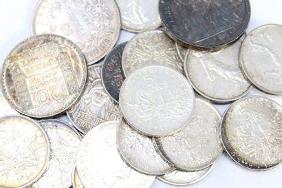 Bel ensemble de pièces en argent :  10 francs...