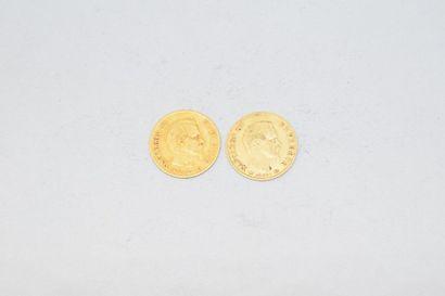Deux pièces en or de 10 francs Napoléon III...