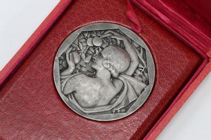 Médaille de style Art Déco en argent (Sanglier)...