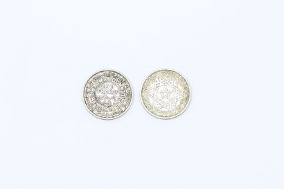 MAROC - Deux pièces en argent de 100 francs...