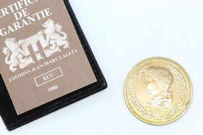 Ecu en bronze  Avers : profil de l'Europe...