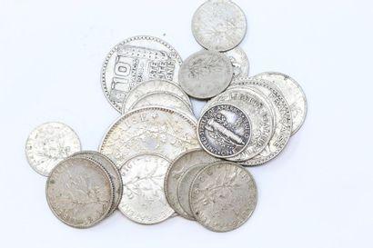 Ensemble de pièces d'argent :  - IIIème République...