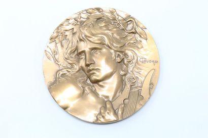 Médaille en bronze représentant Orphée endormant...