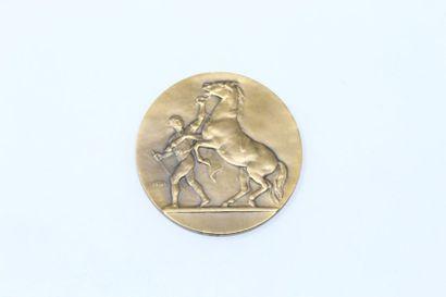 V.Peter  Médaille uniface en bronze à patine...