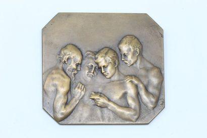 Alexandre CHARPENTIER  Médaille carrée en...