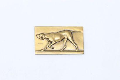 V.Peter  Plaque rectangulaire en bronze doré...