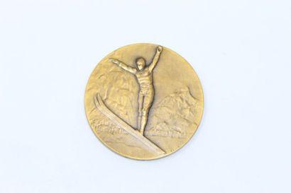 Gallo  Médaille en bronze à patine doré représentant...