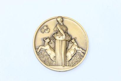 Jean Vernon.  Médaille en bronze doré à l'effigie...