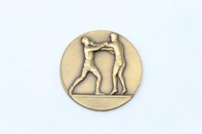 Médaille en bronze à décor de boxeur   Poinçons...