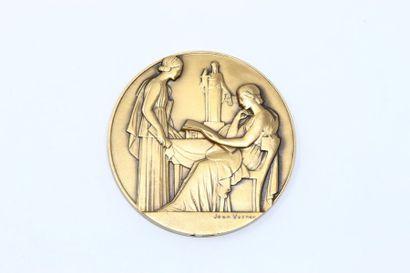 Jean Vernon  Médaille uniface en bronze à...