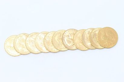 Lot de 11 pièces en or de 20 Francs