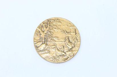 Médaille en bronze représentant la basse-cour....