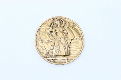 Jean Vernon  Médaille en bronze à patine...
