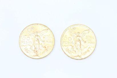 Lot de 2 pièces en or de 50 pesos.  Poids...