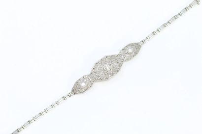 Bracelet Art Déco en or gris 18k (750) et...