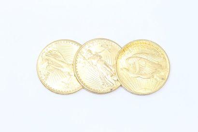 Lot de 3 pièces en or de 20 dollars