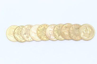 Lot de 10 pièces en or de 20 Francs comprenant...