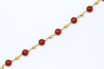 Bracelet boule en or jaune 18k (750) et sphères...
