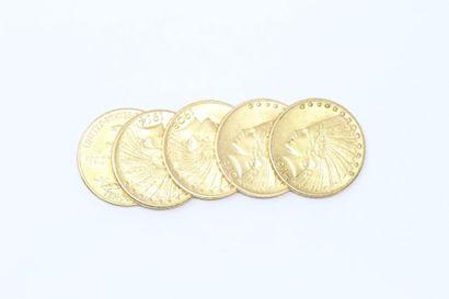 Lot de 5 pièces en or de 10 dollars