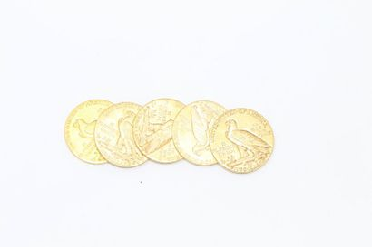 Lot de 5 pièces en or de 5 dollars