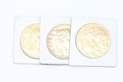 Lot de 3 pièces en or de 100 Francs comprenant...