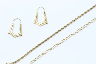 Lot de bijoux en or jaune 18k (750) comprenant...