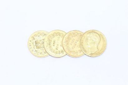 Lot de 4 pièces en or de 40 Francs comprenant...