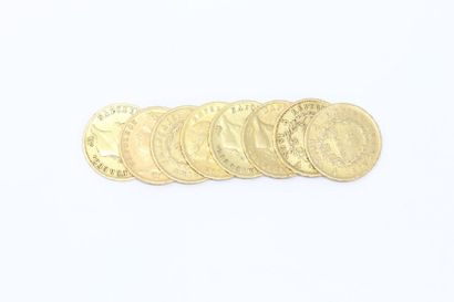 Lot de 8 pièces en or de 20 francs Napoléon...