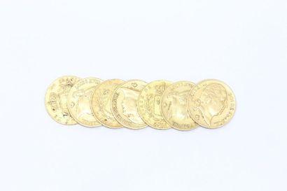 Lot de 7 pièces en or de 20 francs comprenant...
