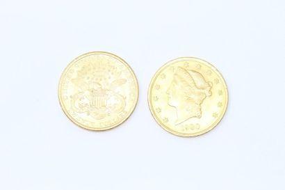 Lot de 2 pièces en or de 20 dollars américains...