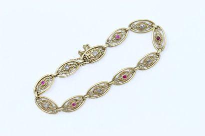 Bracelet en or jaune 18 k (750) à maille...