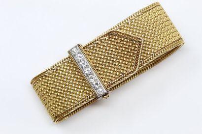 Bracelet ruban souple en or jaune 18k (750)...