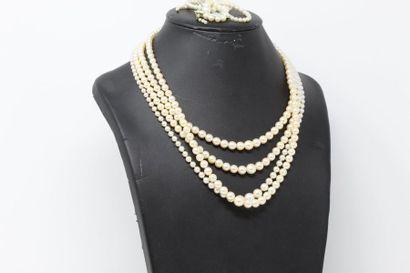 Lot de colliers de perles de culture.