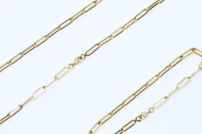Bracelet et collier chaîne en or jaune 18k...