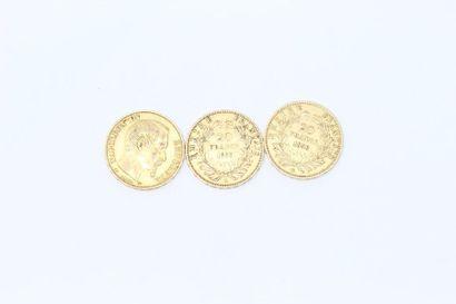 Trois pièces en or de 20 francs