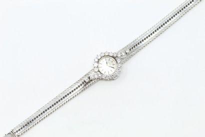 Montre bracelet de dame en or gris 18k (750),...