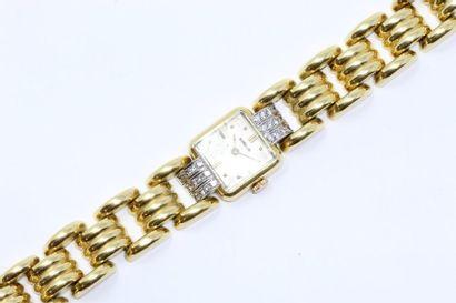 Montre bracelet de dame, boîtier carré en...
