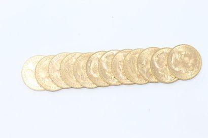 Lot de 12 pièces en or de 20 Francs
