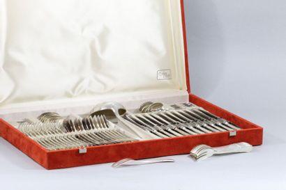 Ménagère en métal argenté modèle trilobé...