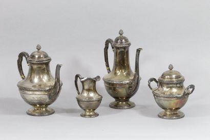 Service à thé et café en argent (minerve)...