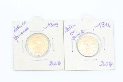 Lot de deux pièces en or de 20 francs Coq,...