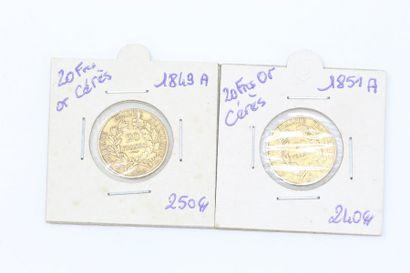 Lot de deux pièces en or de 20 francs