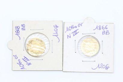 Lot de deux pièces en or de 10 francs