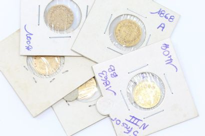 Lot de cinq pièces en or de 5 francs