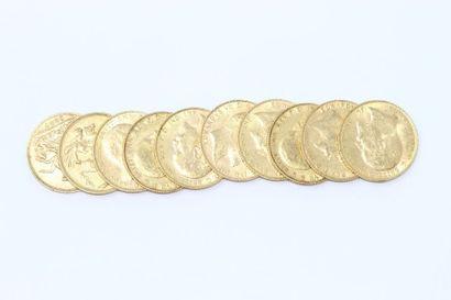 Lot de 10 souverains Edouard VII en or (1904...