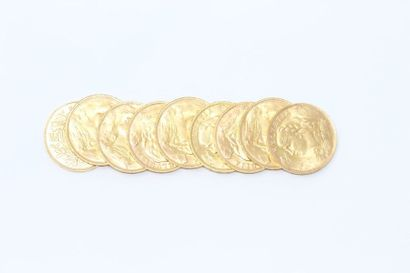 Lot de 9 pièces en or de 20 francs Vreneli...