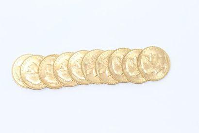 Lot de 10 pièces en or de 20 francs Coq