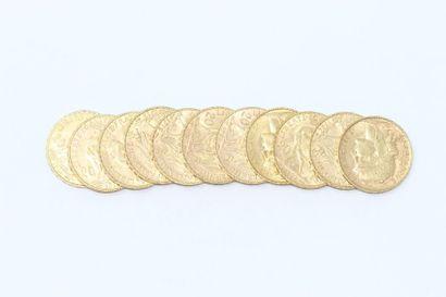 Lot de 11 pièces en or de 20 francs Coq